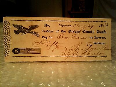 Very Old Cooperstown Otsego County Bank Early Americana Check Dated 1833