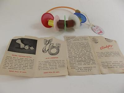 Vintage BINKY Baby Products Rattle Toy BINKYTOYS Mint with Tag Never Used 1950