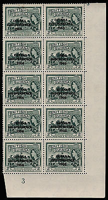 Guyana (742) 1966 2c Gardens with 1966 ERROR in plate block of 10 unmounted mint