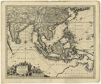Antique Map-INDIAE ORIENTALIS-SOUTHEAST ASIA-INDONESIA-N. Visscher II-ca. 1670