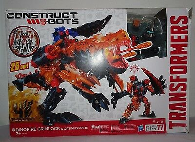 Transformers Age of Extinction Construct Bots Dinofire Grimlock & Optimus Prime