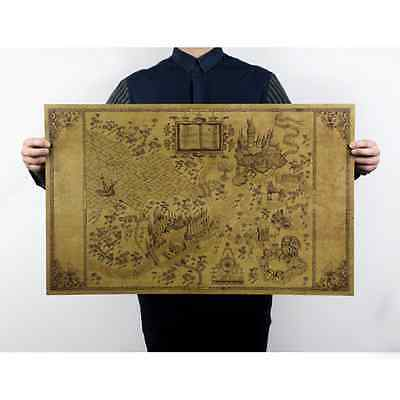 Retro Harry Potter Magic Old World Map Brown kraft Paper Wizarding Poster 51x32c