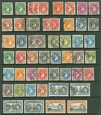 Nigeria 1938 used selection on stock card. Values to 5/- Various perfs, shades..