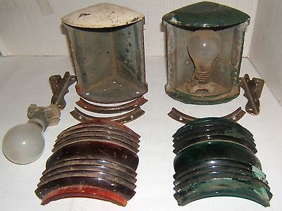 2 Vintage PERKO Perkins Ships Lanterns Red and Green Lenses
