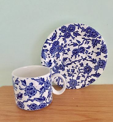 Beautiful Burleigh Ironstone Blue And White Coffee Cup & Saucer Made In England
