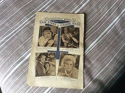 Complete Set 24 On Fold Out Card Schoolgirls Weekly Film Stars In Leading Roles