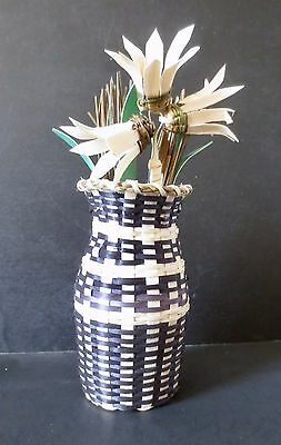 Vase Basket w/Basket Flowers! black/natural/green- Dolly Barnes, Passamaquoddy