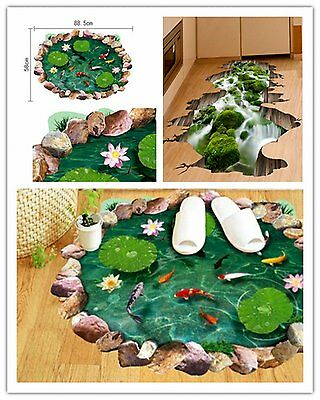 3D Lotus Floor Sticker Removable  Wall Stickers DIY Art Bathroom Mural Decor AU