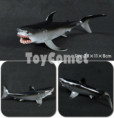 Realistic Great White Shark Sea Animal Figure Solid Plastic Toy Model 23cm