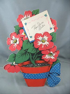 """Vintage Die Cut Flowerpot """"Get Well"""" Greeting Card Unused Stand Up Made USA"""