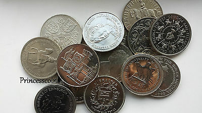 Selection Of English Channel Island Twenty Five Pence / Crown Coin Collection
