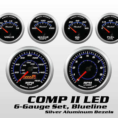 C2 Blueline 6 Gauge Set, Silver Bezels, 0-90 Ohm Fuel Level, Cobalt Blue Accents