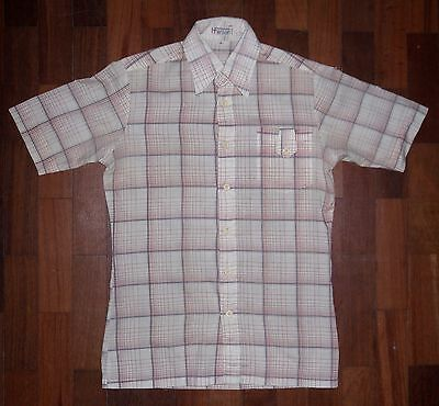 "Vintage 1980s Mens Shirt by Harry Fenton. White with Check. Col 15.5"" Ch 36"""