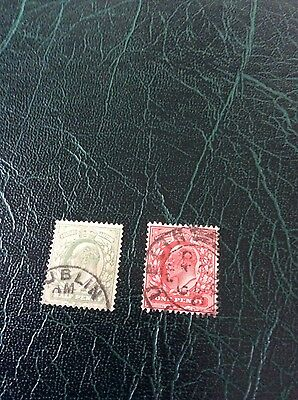 Stamps Ireland King Edward vii. Used in Dublin 1/2d & 1d values