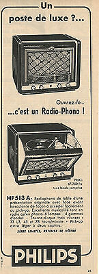 Vintage Philips Radio-Phonogrpah Model Hf513A Original Ad In French