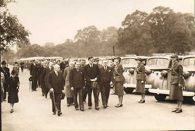 original press ww2 american ambulance parade in london . with officials