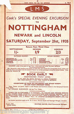 Lms Thos Cook Evening Excursion Nottingham Leicester Newark Lincoln 1935