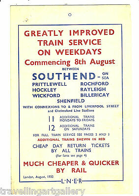Lner Improved Train Service Southend Prittlewell Rochford Rayleigh Wickford 1932