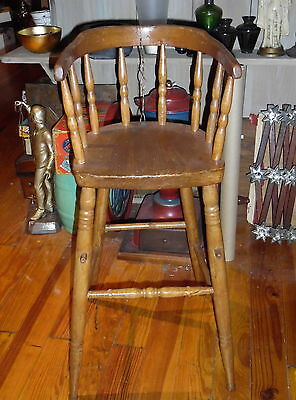 Antique Barrel Back High Chair Or Child's Raised Stool - 31 1/2""