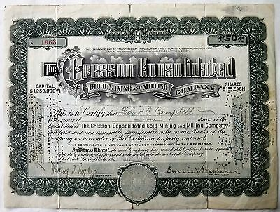 1916 Stock Certificate Cresson Consolidated Gold Mining & Milling Company