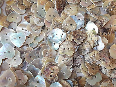 50 x MOTHER OF PEARL- HEART 2 HOLE  15mm BUTTONS, SCRAPBOOKING, CRAFT ETC.,