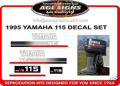 1995 Yamaha 115 Hp Outboard Decals  Stickers Reproductions