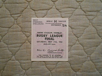 Hull Kr V Widnes Rl Cup Final Match Ticket In West Standing Enclosure 1963