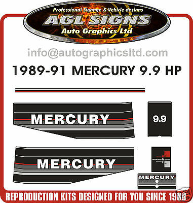 1989 1990 1991  MERCURY 9.9 HP OUTBOARD MOTOR DECAL SET, reproduction