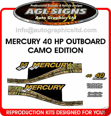 Camo Edition 40 Hp Mercury Decals, Merc Outboard, 50 60