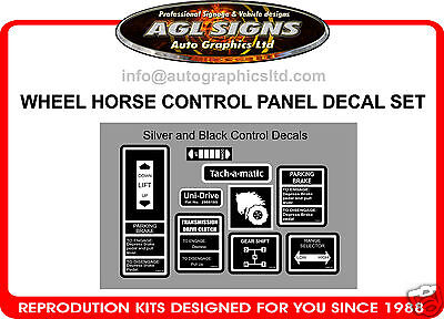 1978 - 1984 Wheel Horse Control Panel Decal Set,  Tractor Mower Decals
