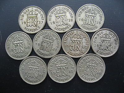 George VI Silver Sixpence set 1937 - 1946, 10 Coins.