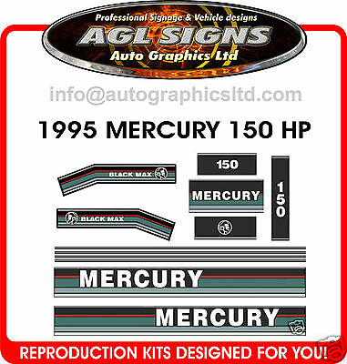 Mercury 150 Black Max Decals 1995  Reproduction 175 135 200
