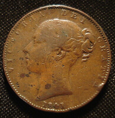 1841 Victoria Bun Head Large Type Farthing Decent Grade Clear Date