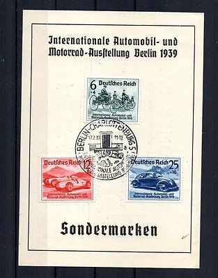 Third Reich 1939 Auto & Cycle Exhibit. First Day Issue Card W/ Special Handstamp