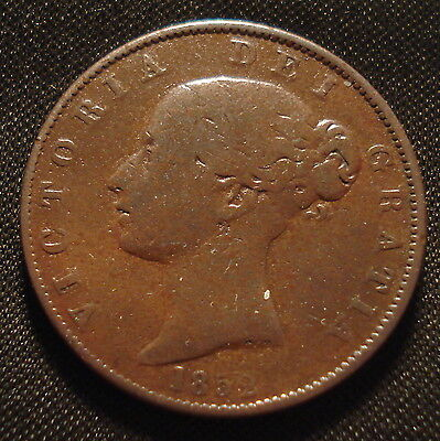 1852 Victoria Bun Head Large Halfpenny Clear Date Polished State Coin