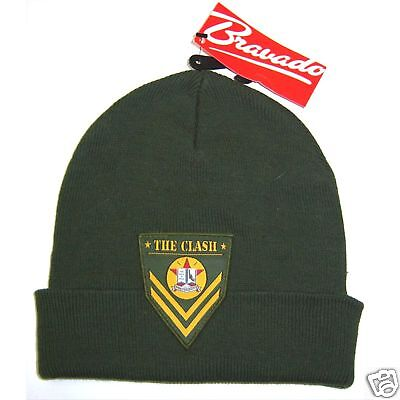 The Clash Army Patch Logo Green Ski Hat Beanie New Official Nwt