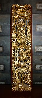 Beautiful Chinese Carved Gilt Wood Panel - Figures & Warriors on Horseback