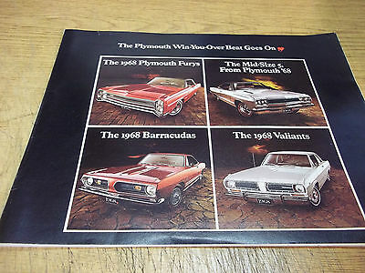 """1968 Plymouth full line 32 page dealer brochure, 9 x 11"""""""
