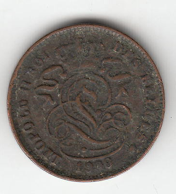 Belgium 2 Cents 1909 French Copper    268K             By Coinmountain