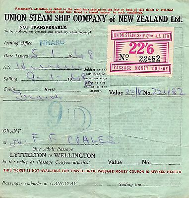 New Zealand 1948 22/6d Passage Money Coupon used on document