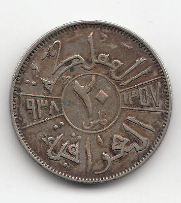 Middle East Silver 20 Fils 1938I Ef+     259K                By Coinmountain