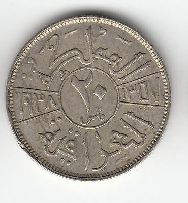 Middle East Silver 20 Mils 1938 King     264K           By Coinmountain