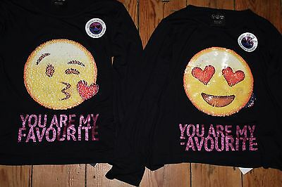 Primark Girls SMILEY T Shirt Tee Top BRUSH SEQUINS YOU ARE MY FAVOURITE