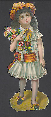 S119 Victorian Die Cut Scraps: Large Girl with Flowers