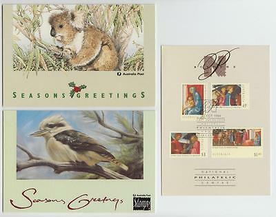 Australia 1992-9 Group Seven Post Office Christmas Cards With Stamps