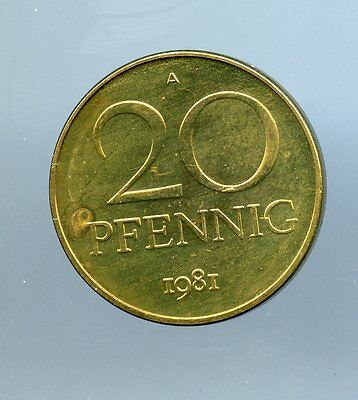 East Germany ~ 1981 A ~ 20 Pfennig ~ Proof ~ 40 Minted