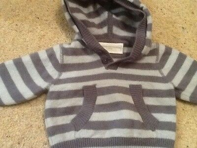 Baby 0-3 months the little white company blue striped jumper / hoody