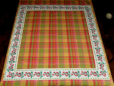 Vintage Tablecloth. Pink/ Yellow/ Green Check with Cherry Applique Band. Fabric