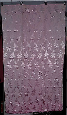 Vintage 60s Fabric Craft Remnant. Self-Coloured Pale Pink Jacquard Satin Flowers