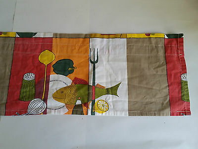 Vintage 60s Fabric Remnant. Fish/ Plate/ Pepper/ Onion/ Lemon Motif. Craft Use